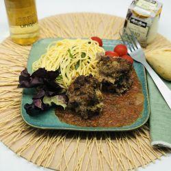 Meatballs (Boulettes de Boeuf) maison / spaghetti à la tomate, mozzarella et Basilic