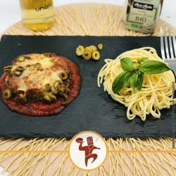 Steak haché façon pizzaïolo et spaghetti