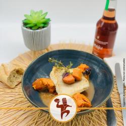 Loup de mer sauce à l'échalotte et légumes rôti à l'huile de noisettes